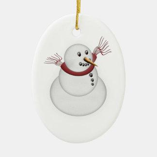 Ornamento De Cerâmica Ano branco bonito do costume do boneco de neve