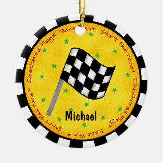 Ornamento De Cerâmica Ano Checkered do nome da bandeira do fã da auto