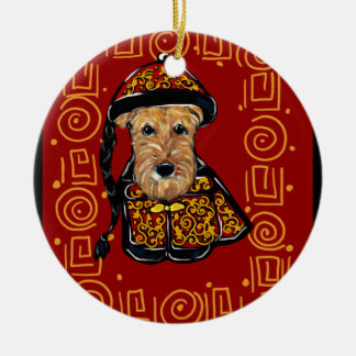Ornamento De Cerâmica Ano de Airedale Terrier do cão
