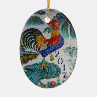 Ornamento De Cerâmica Ano do galo, foto opcional de 2017 chineses