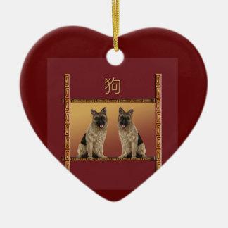 Ornamento De Cerâmica Ano novo chinês do design asiático de Shepard do