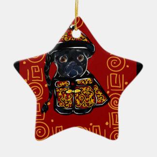 Ornamento De Cerâmica Ano preto do Pug do cão