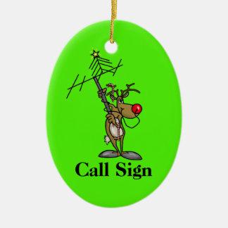 Ornamento De Cerâmica Antena de colocação em movimento de Rudolph com o