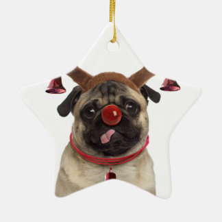 Ornamento De Cerâmica Antlers do Pug - pug do Natal - Feliz Natal