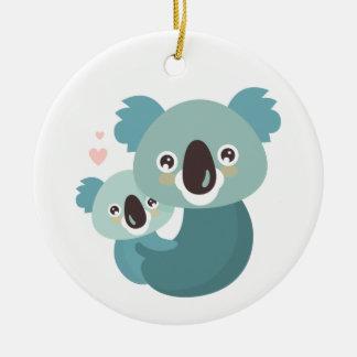 Ornamento De Cerâmica Aperto doce da mãe e do bebê do koala dos desenhos