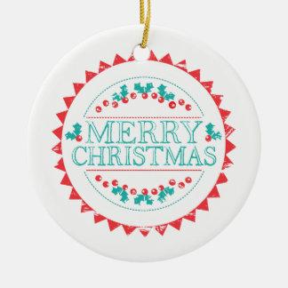 Ornamento De Cerâmica Aqua do Feliz Natal & tipografia vermelha do selo