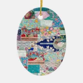Ornamento De Cerâmica Aqua e design azul da tapeçaria da edredão