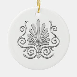 Ornamento De Cerâmica Arabesque da pena da prata do art deco do vintage