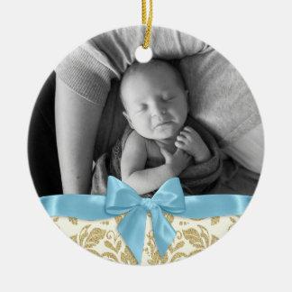 Ornamento De Cerâmica Arco azul do damasco da foto e do ouro do bebê