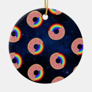 Ornamento De Cerâmica Arcos-íris da rosquinha da galáxia