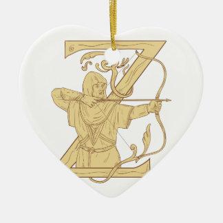 Ornamento De Cerâmica Arqueiro medieval que aponta o desenhar da letra Z