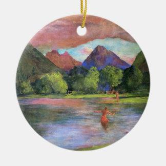 """Ornamento De Cerâmica """"Arrebol da tarde, rio de Tautira, Tahiti"""" - John"""