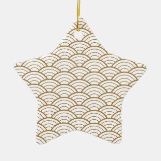 Ornamento De Cerâmica art deco, teste padrão japonês do fã, ouro,
