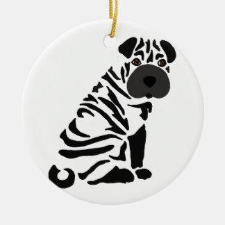 Ornamento De Cerâmica Arte abstracta preta engraçada do cão de Shar Pei