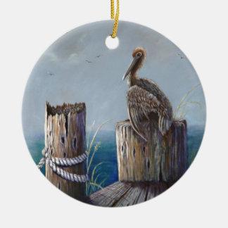 Ornamento De Cerâmica Arte acrílica do oceano do pelicano de Brown da
