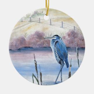 Ornamento De Cerâmica Arte acrílica Pastel escondida da garça-real azul