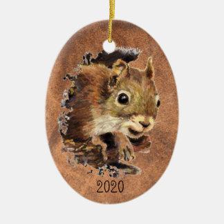 Ornamento De Cerâmica Arte animal do animal da aguarela do esquilo