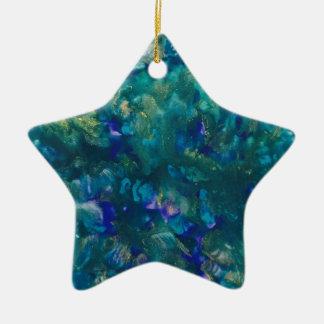 Ornamento De Cerâmica Arte azul da pintura do Watercolour