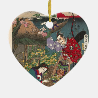 Ornamento De Cerâmica Arte bonita japonesa do samurai da gueixa