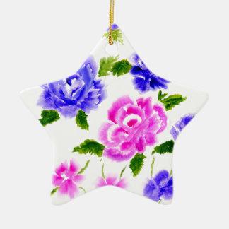 Ornamento De Cerâmica Arte colorida das flores