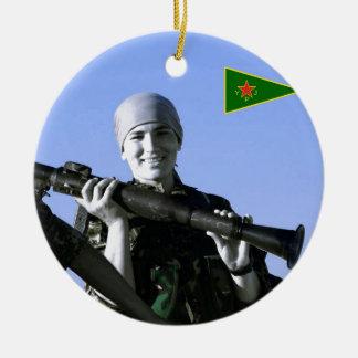 Ornamento De Cerâmica Arte curdo do lutador 4 de YPJ