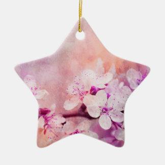 Ornamento De Cerâmica Arte da aguarela da flor de cerejeira