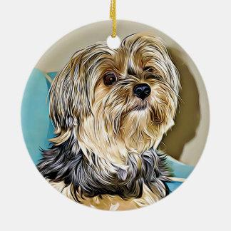 Ornamento De Cerâmica Arte digital do yorkshire terrier bonito