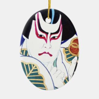 Ornamento De Cerâmica Arte do ator de Kabuki do japonês pelo 名取春仙 de