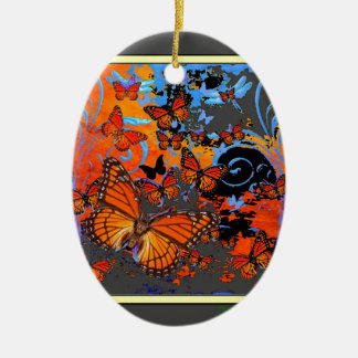 Ornamento De Cerâmica Arte do clima de tempestade das borboletas de