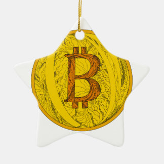 Ornamento De Cerâmica Arte do Doodle de Bitcoin