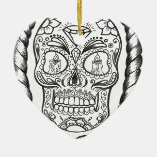 Ornamento De Cerâmica Arte do tatuagem de Sugarskull por Sweetpieart