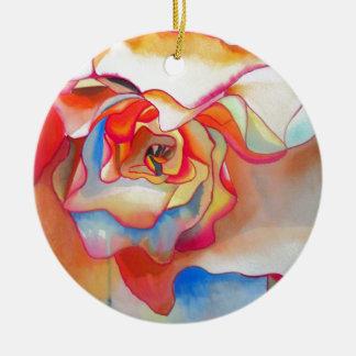 Ornamento De Cerâmica Arte do watercolour da begónia de Fred Martin