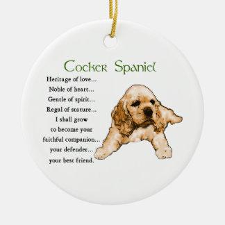 Ornamento De Cerâmica Arte dos amantes do filhote de cachorro de cocker