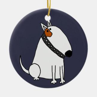 Ornamento De Cerâmica Arte engraçada do cão de bull terrier