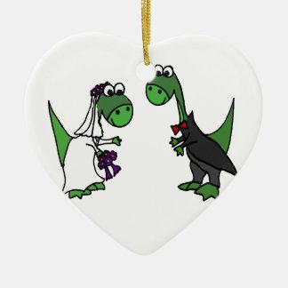 Ornamento De Cerâmica Arte engraçada do casamento do Brontosaurus