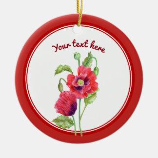Ornamento De Cerâmica Arte floral botânica das papoilas vermelhas feitas