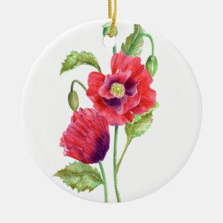 Ornamento De Cerâmica Arte floral das papoilas vermelhas da aguarela
