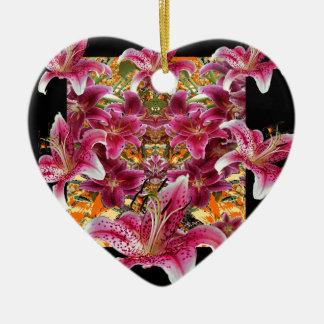 Ornamento De Cerâmica arte floral dos lírios do gazer da estrela