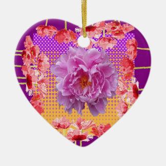 Ornamento De Cerâmica arte floral roxa da peônia cor-de-rosa
