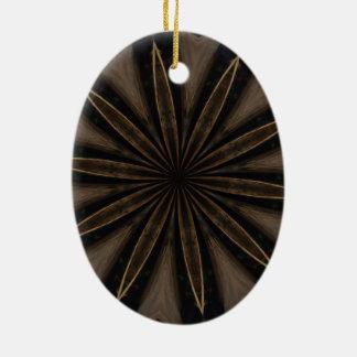 Ornamento De Cerâmica Arte Kaleidoscopic rústica escura da flor de Brown