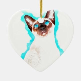 Ornamento De Cerâmica Arte Siamese de CatWatercolor