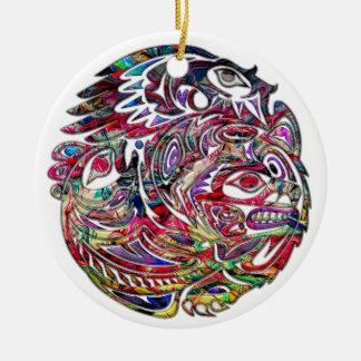 Ornamento De Cerâmica Arte tribal abstrata do baixo e do urso de Eagle