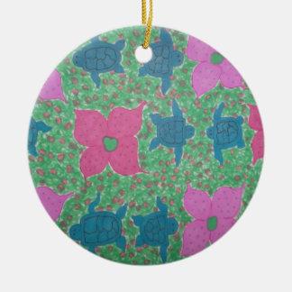Ornamento De Cerâmica Arte tropical das tartarugas e das flores de mar