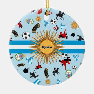 Ornamento De Cerâmica Artigos de Argentina com a bandeira através dela