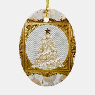 Ornamento De Cerâmica Árvore bonita do laço e do floco de neve quadro no