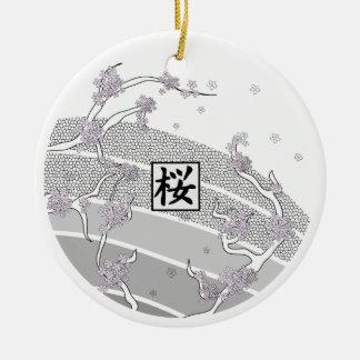 Ornamento De Cerâmica Árvore branca da flor de cerejeira