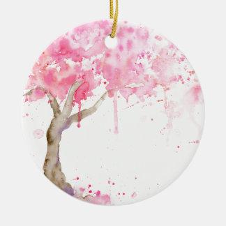 Ornamento De Cerâmica Árvore cor-de-rosa abstrata da aguarela, árvore de