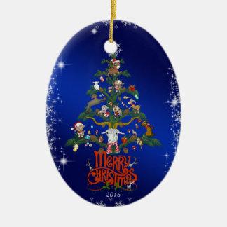 Ornamento De Cerâmica Árvore da cabra do Feliz Natal do presente | do