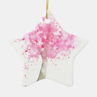 Ornamento De Cerâmica Árvore de cereja cor-de-rosa da aguarela