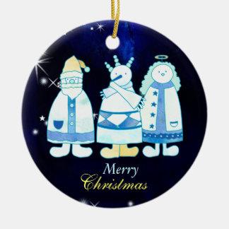 Ornamento De Cerâmica Árvore de Natal azul do anjo do boneco de neve do